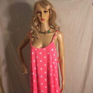 NWT JOE BOXER woman's Large pink/white stars dress